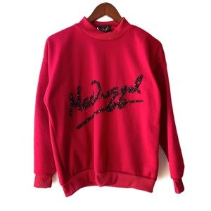 Mac Duggal Red Embellished Logo Sweatshirt RARE